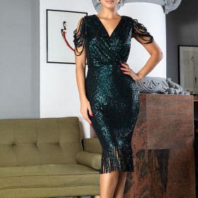 Deep V-neck flash fringe Sequin dress