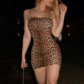 Leopard lace dress