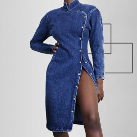 Sexy slim long sleeve wash single breasted denim dress