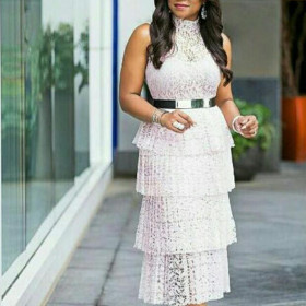 Lace pleated cake skirt with the same belt