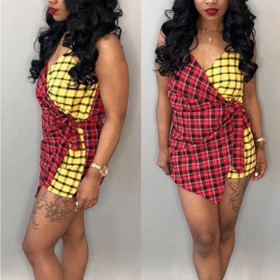 Two color Plaid suspender dress