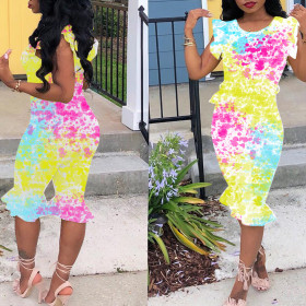 Printed Ruffle Jumpsuit