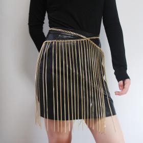Metal stitched iron chain fringe skirt