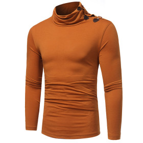 Men's fashion solid color high collar button long sleeve T-shirt