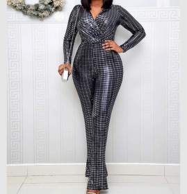 Jumpsuit fashion sequins V-neck high elasticity