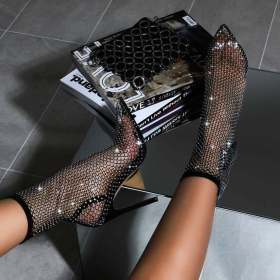 Sexy black stiletto cut out fishing net socks