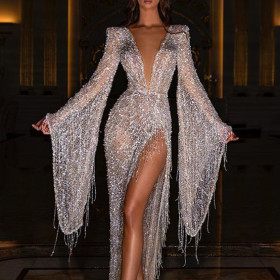 Sexy fringe deep V perspective dress