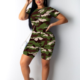 Camouflage leisure two piece set