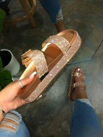 Diamond sandals, flat bottomed casual water muffin, thick bottomed slippers