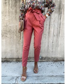 High waisted pants, bow belt, solid color casual Harun pants