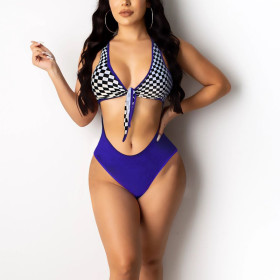 Sexy digital print tie swimsuit one piece pants