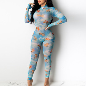 Cupid printed polyester mesh perspective Jumpsuit