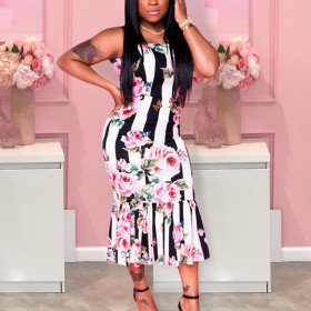 Fashion sexy print dress rose