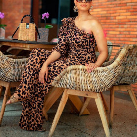 Sexy Leopard Print Top with one sleeve Jumpsuit
