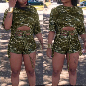 Fashion women's short sleeve mosaic camouflage two piece suit