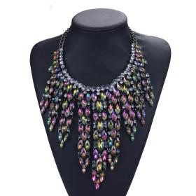 Fashion Diamond Long multi-layer Necklace personalized Tassel Necklace