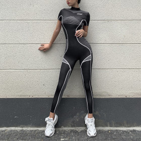 High waist, body and buttock printing Jumpsuit