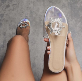 Transparent belt sun flower drill large flat sandals