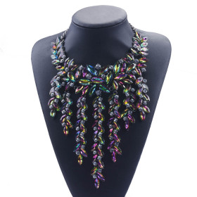 Exaggerated Tassel Necklace Fashion alloy inlaid with diamond women's collarbone Necklace