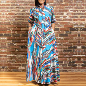 Colorful stripe printed bohemian dress