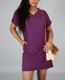V-neck solid short sleeve casual loose T-shirt dress with pocket