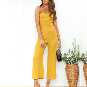Straight tube suspender off shoulder wide leg pants