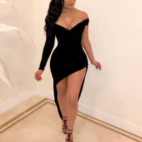 Fashion sexy asymmetric V-neck half skirt dress