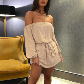 Fashion casual one shoulder dress