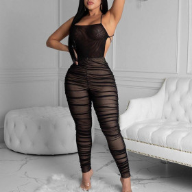 Sexy women's mesh pleated Jumpsuit