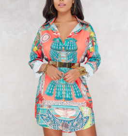 Printed shirt multicolor women's skirt