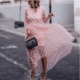 Solid jacquard long sleeve backless dress