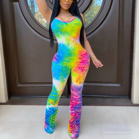 Multicolor printed trouser leg pleated suspender Jumpsuit