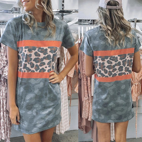 Round neck leopard camouflage short sleeve casual straight skirt