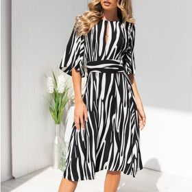 Casual mid sleeve high waist lace up slim stripe dress