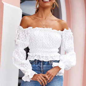 Embroidered and printed Lace Chiffon solid shoulder off back top