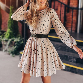 Round neck Polka Dot A-line skirt long sleeve (including belt) women's dress