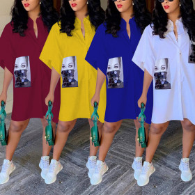 Fashion Casual Short Sleeve 4-color shirt skirt