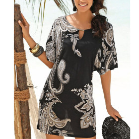 Relaxed and slim printed chiffon dress