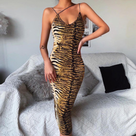 Bandage V-neck sexy tiger leopard dress