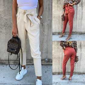 Tie and insert pocket fit solid casual pants