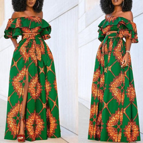 Printed dress two piece skirt with lotus leaf sleeve