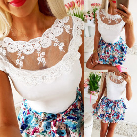 Sexy solid lace round neck short sleeve top
