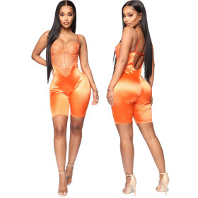 European and American cross border women's European station suspender tight sleeveless temperament solid color vest sexy shorts casual Jumpsuit