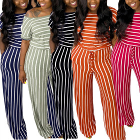 Stripe multicolor casual fashion short sleeve one piece pants