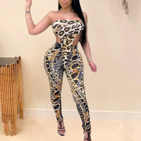 Chain leopard print wrap chest sleeveless fit fashion suit