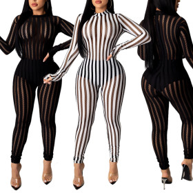 Slim fit elastic stripe mesh Jumpsuit
