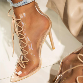 Transparent rubber strap Roman thin high heel women's cool boots