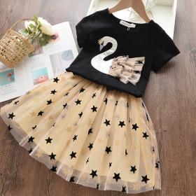 Main skirt Swan short sleeve T-shirt + star yarn skirt two piece set