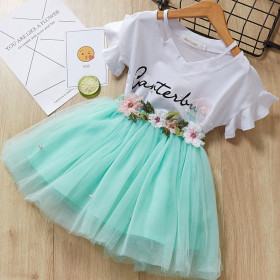 Butterfly short sleeve two piece Girl Flower Fairy short skirt suit