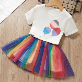 Short sleeve top rainbow skirt skirt skirt two piece suit